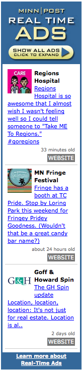 Real-Time Ads widget launched this week by MinnPost.com