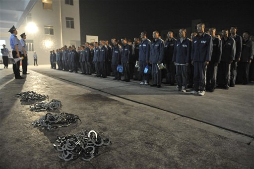 Prison Policemen hold a roll-call for prisoners being transfered in China.