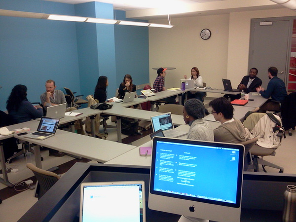 Students in Jeff Jarvis and Jeremy Caplan's first-ever Entrepreneurial Journalism program at CUNY