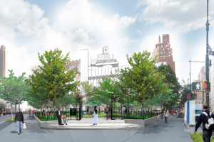 Artist rendering of proposed triangle park.
