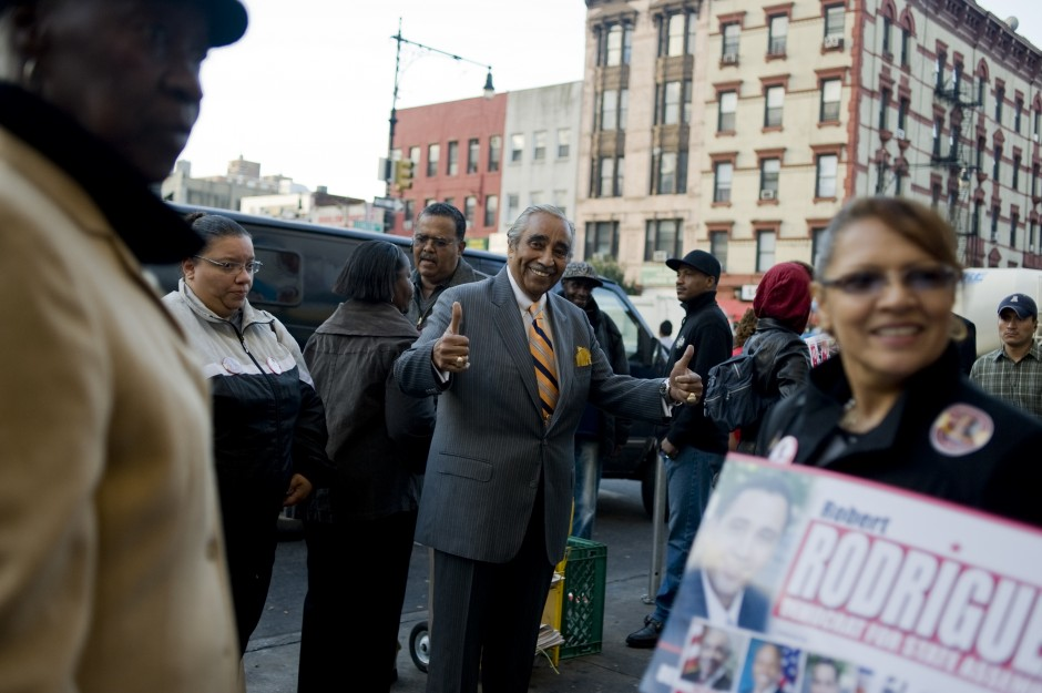 Rangel campaigns in Harlem 2010