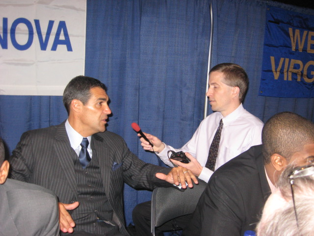 Interviewing Villanova basketball coach Jay Wright at Big East media day.