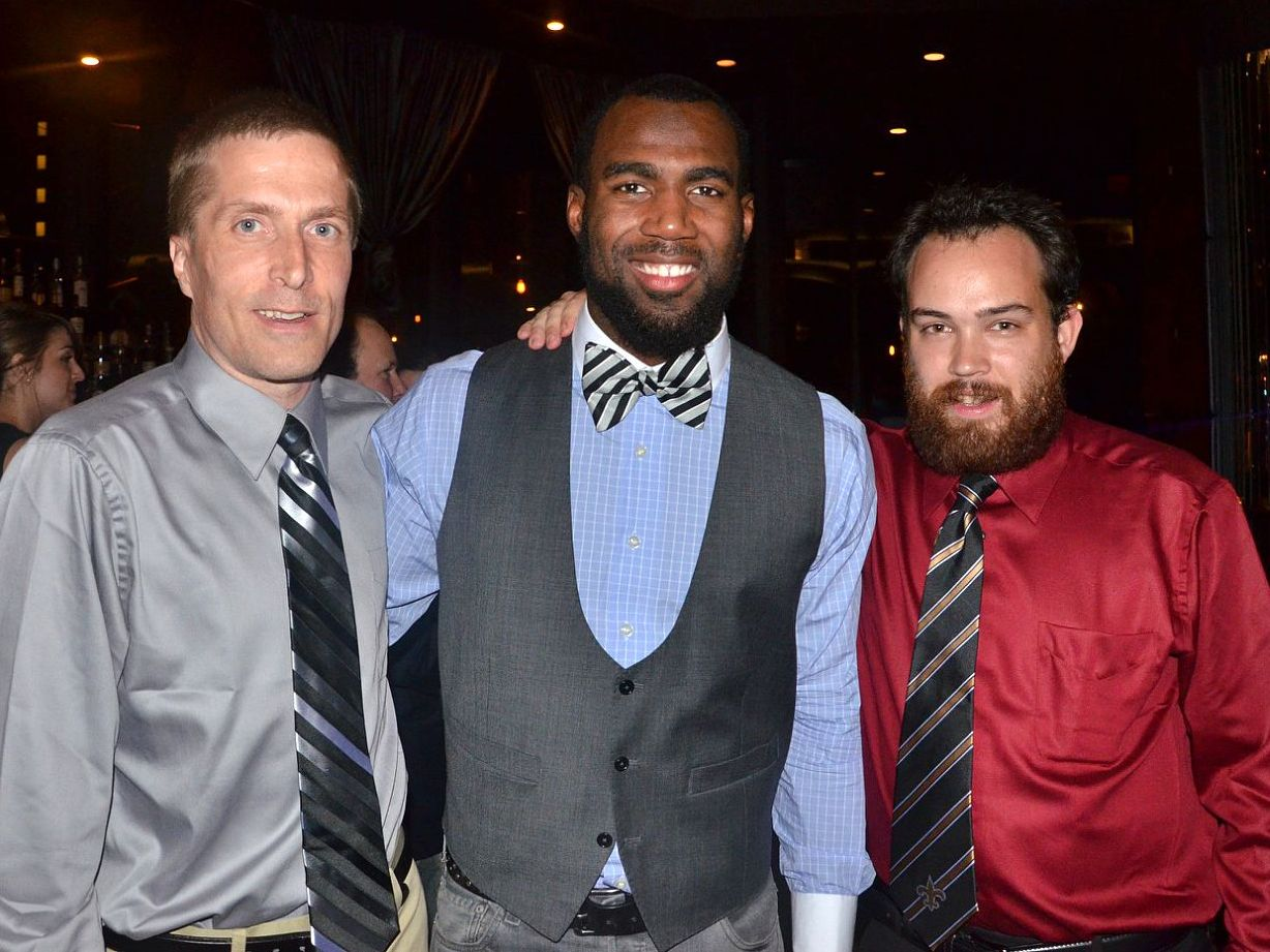 With Saints safety Malcolm Jenkins and PNOLA's Jim Coningsby.