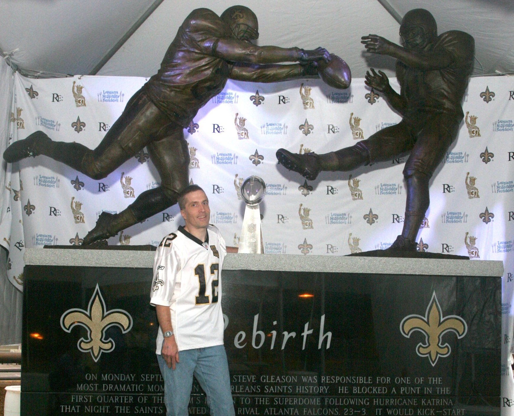 Yup, that's me this week with the Saints' actual Lombardi trophy from Super Bowl 44.