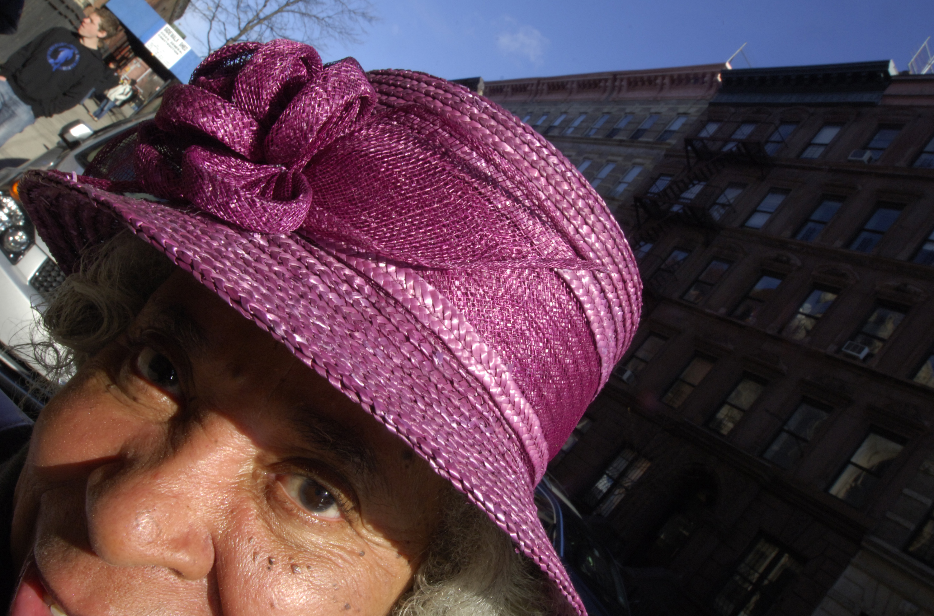 8 April, 2007 -- New York --  Parishioners outside Abyssinian Baptist Church in Harlem on Easter Sunday display a variety hats for the occasion. John Smock/SIPA Press