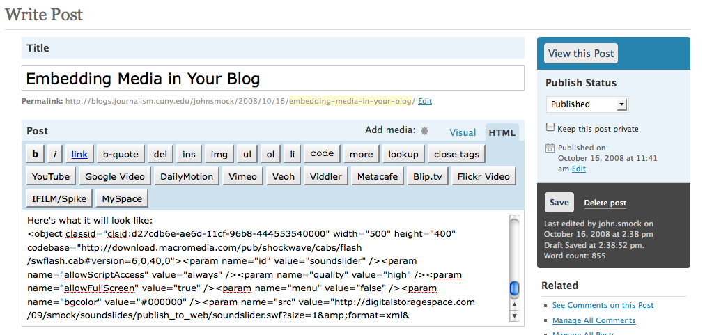 Here's the page in WordPress. You can see that the html tab is selected.