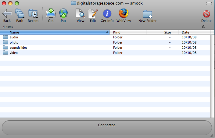 This is what the folders in your (last name) digitalstoragespace.com folder should look like