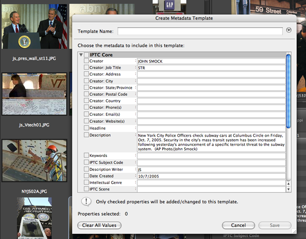 This image shows the batch processing template for Metadata in Adobe Bridge.