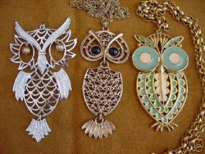 A section of vintage owl pendants.
