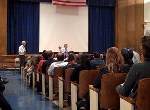 The EPA's Walter Mugdan and Christos Tsiamis answer questions from the public at a December 3rd meeting on studies planned for the Gowanus Canal in Brooklyn.